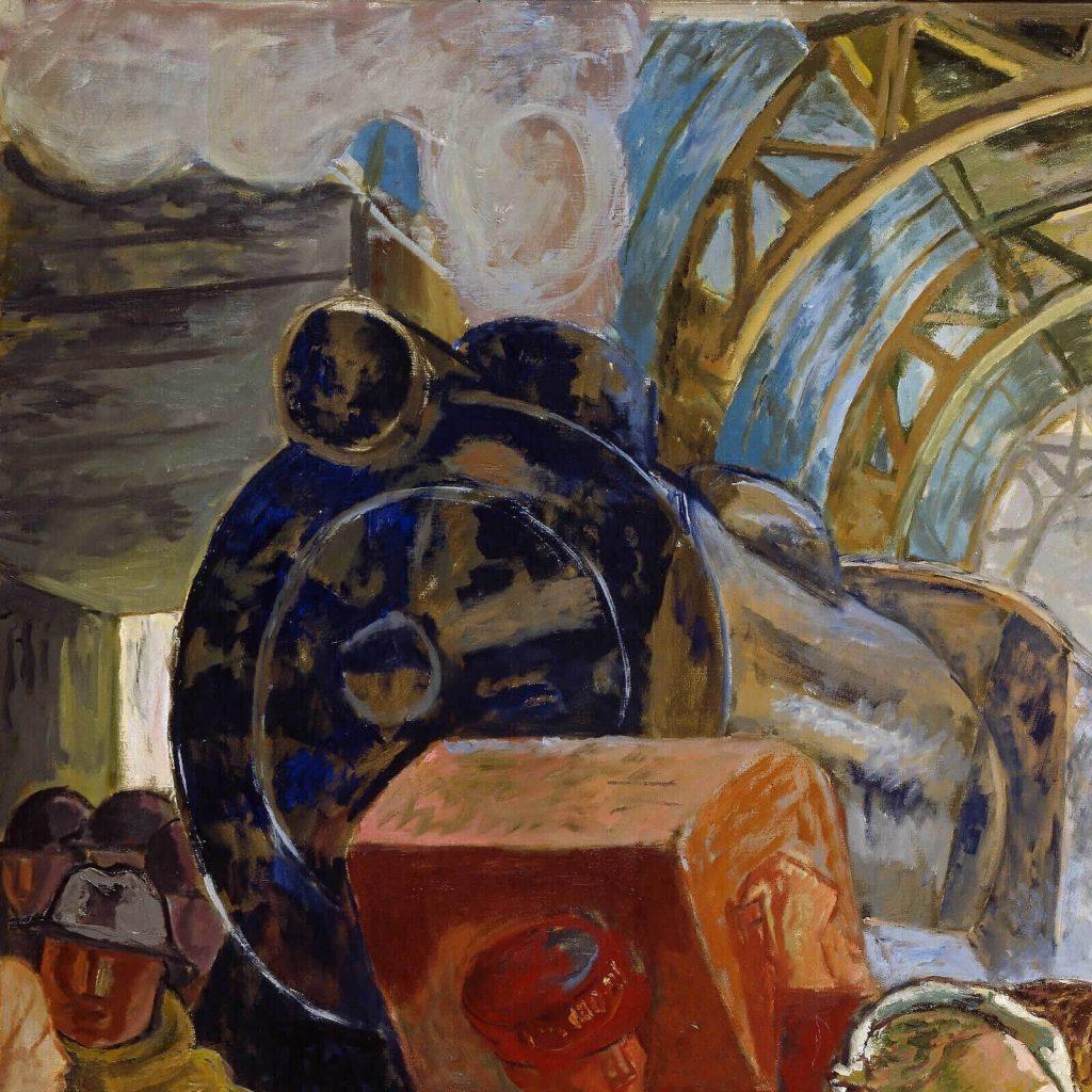 Alf Rolfsen, The Big Station, 1932, Nasjonalmuseet, Oslo, Norway. Enlarged Detail of Train.