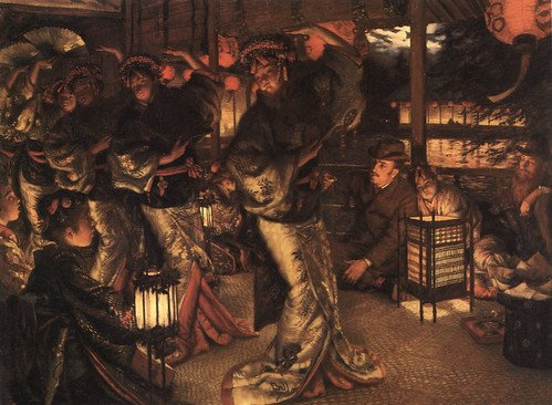 The Prodigal Son in Foreign Climes, a an 1882 adaptation by James Tissot, oil on canvas, the prodigal son at a brothel, all dressed in Victorian costume