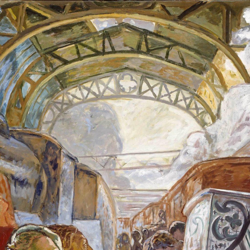 Alf Rolfsen, The Big Station, 1932, Nasjonalmuseet, Oslo, Norway. Enlarged Detail of Iron Girders.