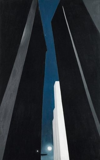 Reproduction of a Georgia O'Keeffe's painting depicting in dark shades high skyscrapers walls offering a narrow perspective on a low moon.