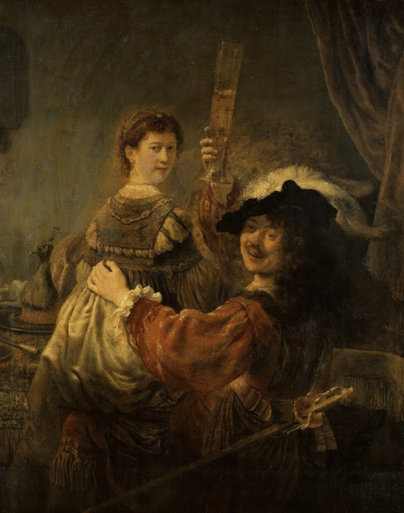 Rembrandt and Saskia in The Prodigal Son, oil on canvas by Rembrandt, his wife Saskia sits on his lap while he holds a cup of drink, they both look directly at the viewer