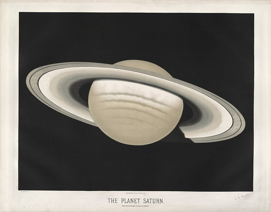 Étienne Léopold Trouvelot, The Planet Saturn: As Observed on November 30, 1874, chromolithograph print, Plate X in The Trouvelot Astronomical Drawings