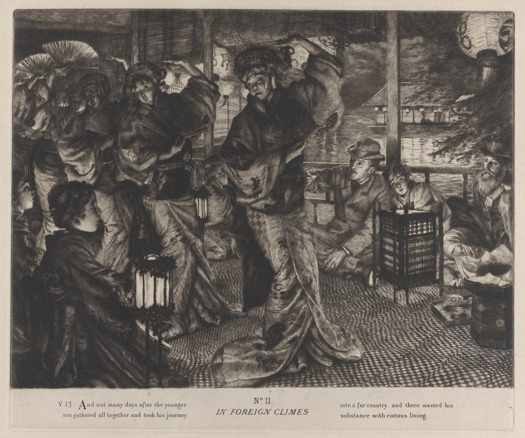 The Prodigal Son in Foreign Climes, a an 1882 adaptation by James Tissot, etching, the prodigal son at a brothel, all dressed in Victorian costume