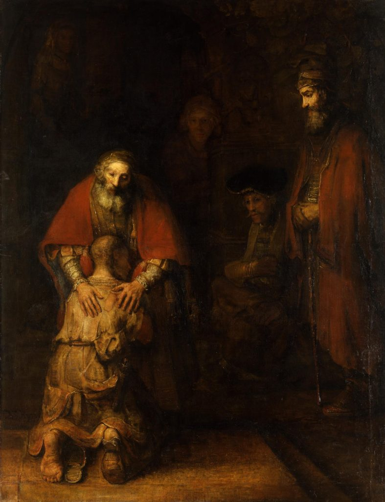 Return of the Prodigal Son, by Rembrandt van Rijn, the prodigal embraces his father, while members of the household look on, red, ochre, and brown tones, with dark background