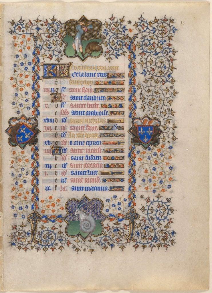 Belles Heures December. The Limbourg Brothers, The Belles Heures of Jean de France, Duc de Berry