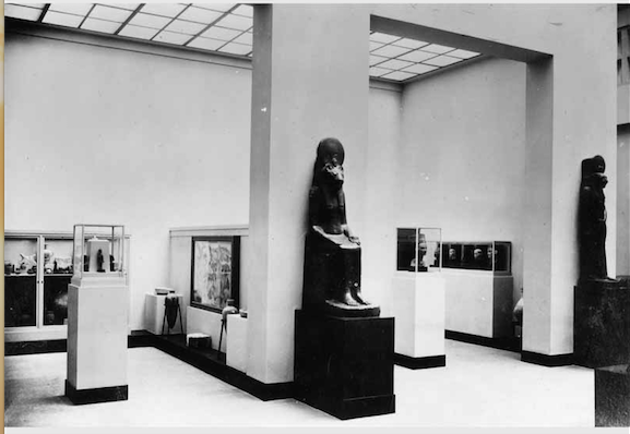 View of the Neues Museum after the renovation of the Greek court with the Bust of Nefertiti on the right