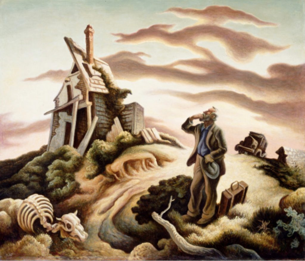 Prodigal Son, by Thomas Hart Benton, the prodigal has returned too late, and the homestead is in ruins. A Dust-bowl interpretation of the parable