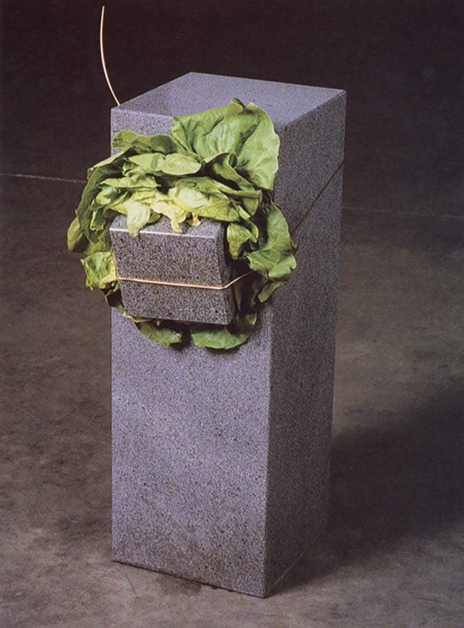 Arte Povera movement: Giovanni Anselmo, Scultura che mangia (Eating Sculpture), 1968, Sonnabend collection, New York.