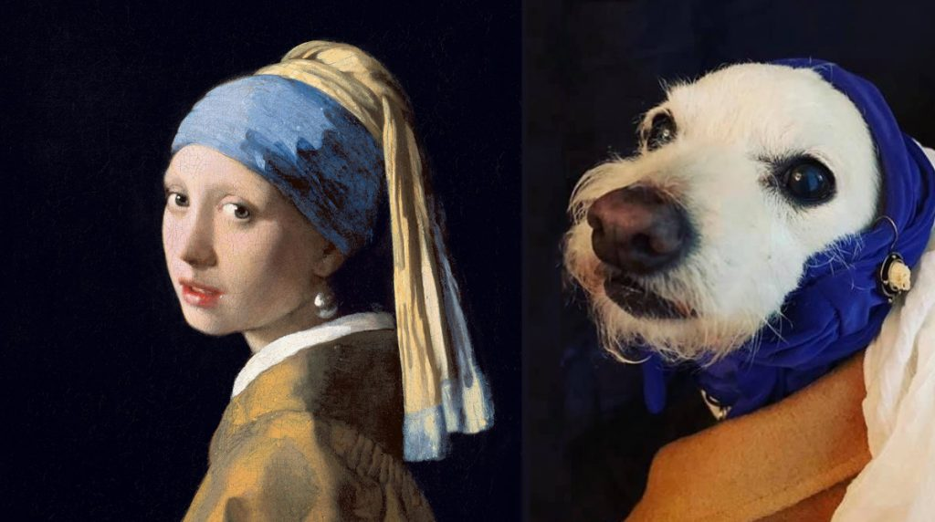 The Girl with a Pearl Earring by Lacey Quinn and Radar, after Vermeer