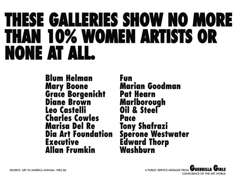 Guerilla Girls, These galleries show no more than 10% women artists or none at all,