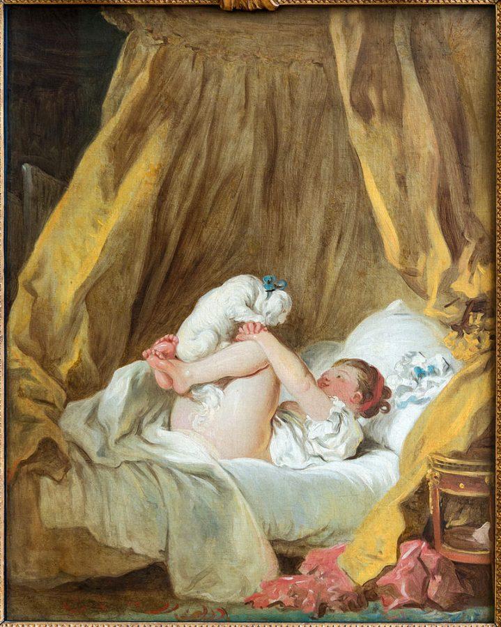 Jean-Honoré Fragonard, Girl with a dog,