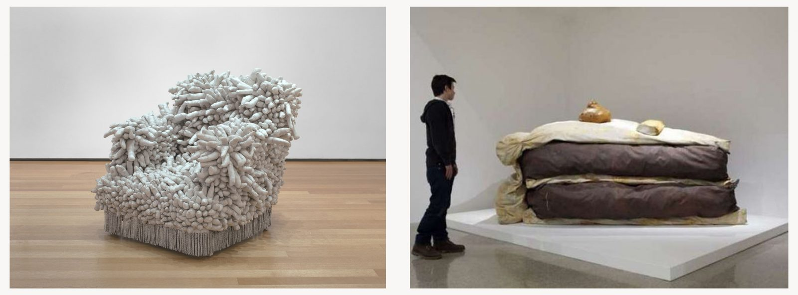 Juxtaposition of two photographs with on the left Yayoi Kusama's armchair covered by penises in fabric and on the left a human-scale sculpture in fabric looking like a piece of chocolate cake.