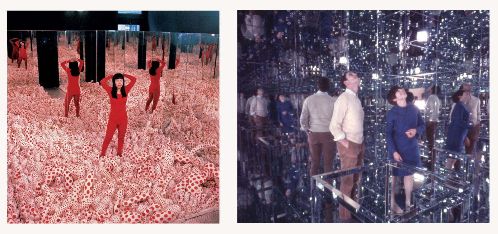 Juxtaposition of two photographs with on the left Yayoi Kusama wearing a red pijama standing among phallis in red polka dot fabric, standing n her Infinity Room no1, while on the right is two visitors inside a mirrored room looking at their reflection at the ceiling