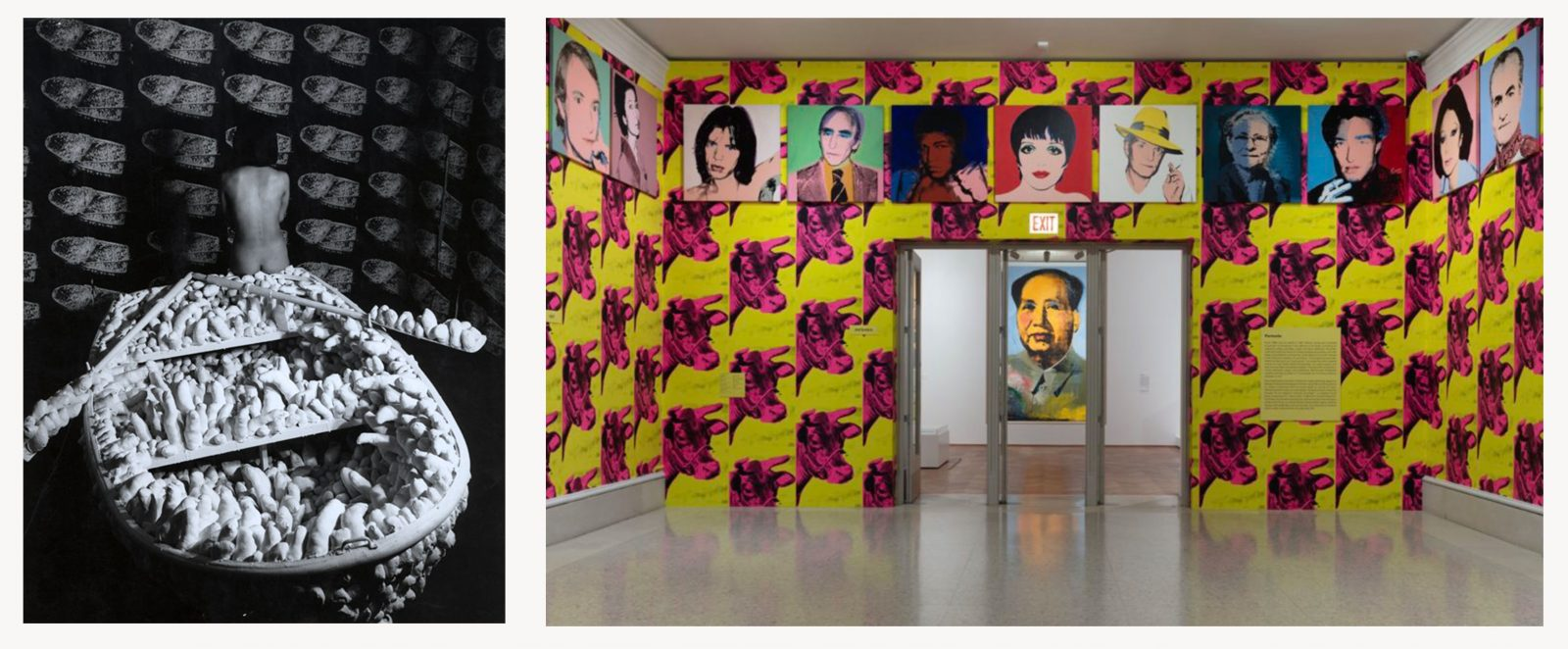 On the left is a black and white photograph of Yayoi Kusama turning her back to the camera, sitting naked on a boat covered of fabric penises with the wallpaper on the bacckground being a mosaic of the same boat, while on the right is a photograph of a room covered with a wallpaper being a mosaic of pink cow heads on a yellow background