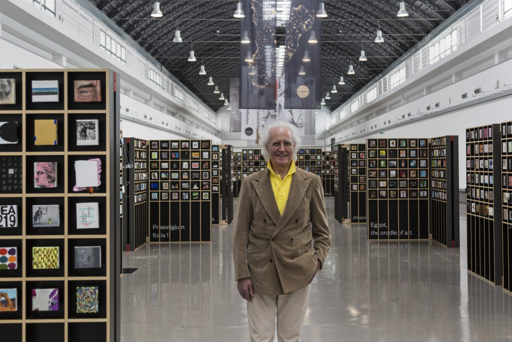Luciano Benetton with the Imago Mundi collection