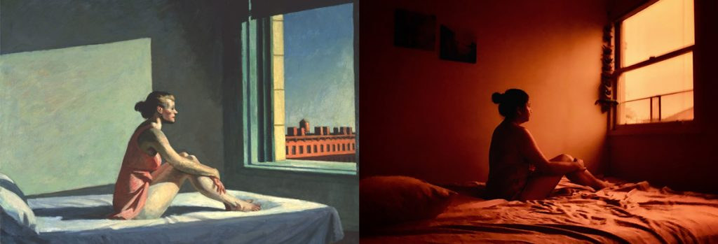 Homemade Masterpieces: art inspiring creativity in our homes. Morning Sun by Barnali Ghosh, after Edward Hopper