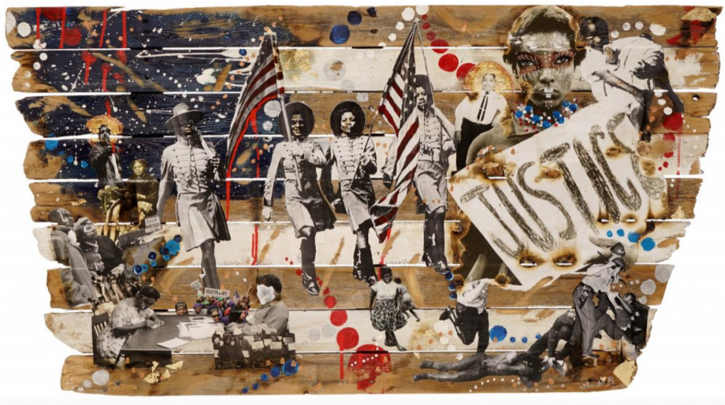 """Lavett Ballard, Pride vs. Prejudice. collage on wood fence. black women marching with american flags on the center, a """"justice"""" flag in front of a woman with tribal marks painted on the face, scenes of police violence on black people. Blue, red and white painted dots of several forms all over."""