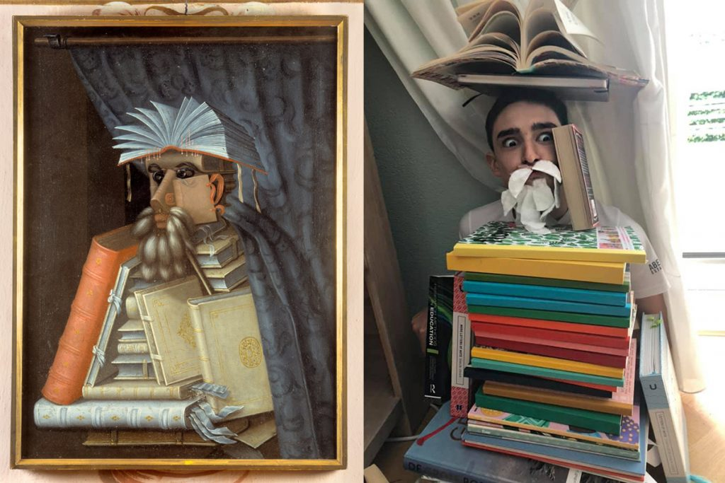 Homemade Masterpieces: art inspiring creativity in our homes. The Librarian by Lloyd and van Rooijen, after Arcimboldo