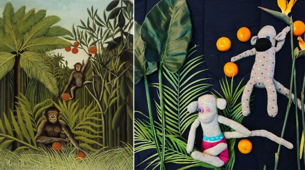 Homemade Masterpieces: art inspiring creativity in our homes. Two Monkeys in the Jungle by Jill Moxon, after Rousseau