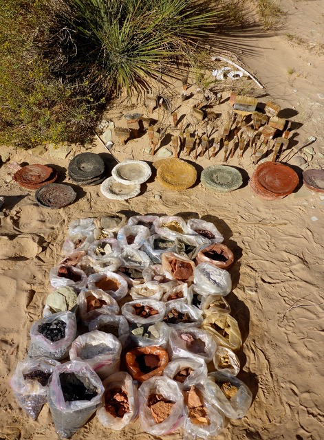 Ulrike Arnold's collected earth pigments and brushes at Broken Arrow Cave, Utah