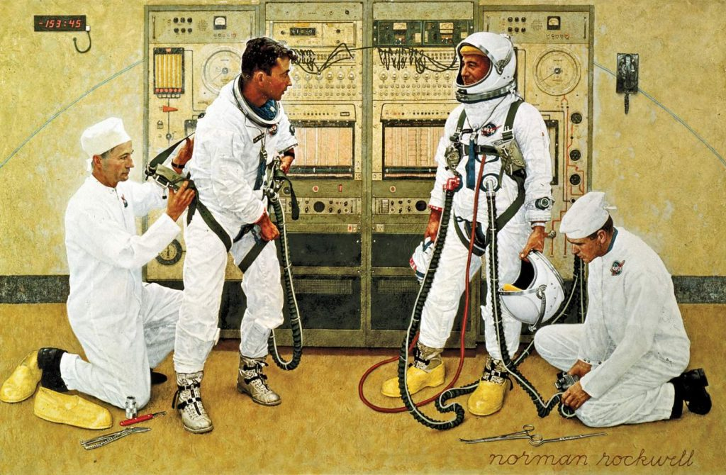 NASA Art Program: Norman Rockwell, Grissom and Young, 1965, Smithsonian National Air and Space Museum, Washington, DC, USA.