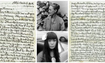 Letters from Georgia O'Keeffe to Yayoi Kusama with their portraits