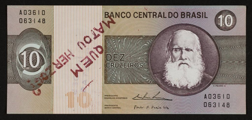 Protest art: Cildo Meireles, Insertions into Ideological Circuits 2: Banknote Project, 1970  Tate, London, England, UK.