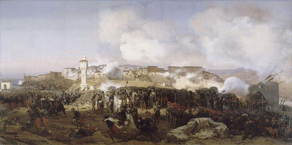 Return of Algerian Skulls: Horace Vernet, Les Colonnes D'Assaut se mettent en mouvement, 13 Octobre 1837, 1838, Grande Palais, Paris, France.