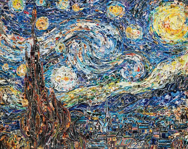 Ways in which art can fight climate change:  Vik Muniz, Starry Night, after Van Gogh, from Pictures of Magazines