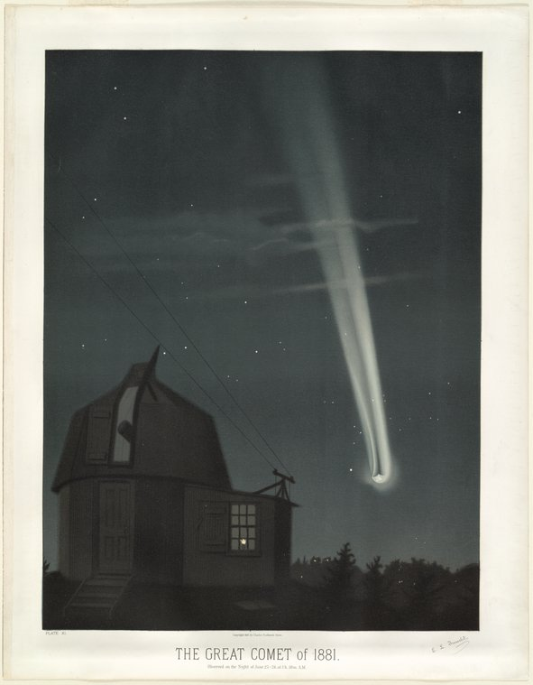 astronomical art: Étienne Léopold Trouvelot, The Great Comet of 1881, As Observed on the Night of June 25-26 at 1.30am, chromolithograph print,
