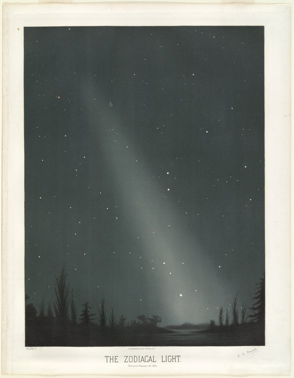 astronomical art: Étienne Léopold Trouvelot, The Zodiacal Light: As Observed on February 20, 1876, chromolithograph print, Plate V in The Trouvelot Astronomical Drawings
