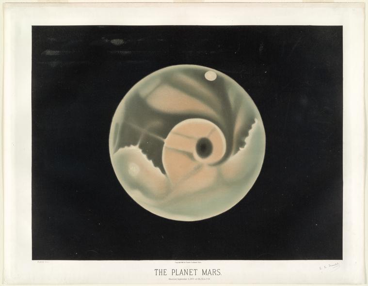 astronomical art: Etienne Leopold Trouvelot, The Planet Mars