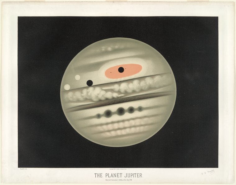astronomical art: Étienne Léopold Trouvelot, The Planet Jupiter, As Observed November 1, 1880 at 9.30pm, chromolithograph print,