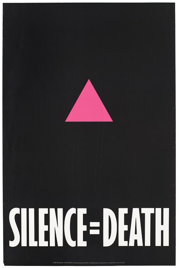 Poster for the Silence =  Death project, 1987. ACT-UP, The AIDS Coalition To Unleash Powe