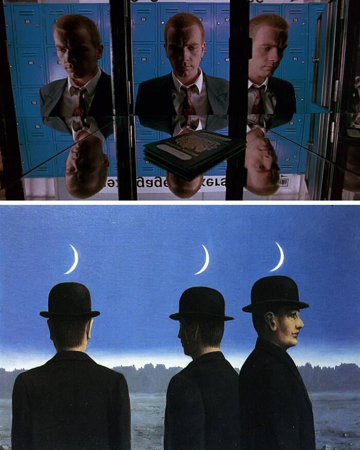Danny Boyle, Trainspotting, 1996. Twitter. René Magritte, The Mysteries of the Horizon, 1955, private collection.