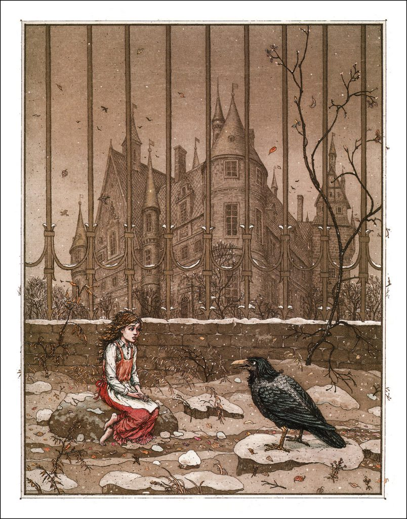 Boris Diodorov, Gerda and the Crow, 2005, illustration for the Snow Queen book from Oberton publishing house. Book Graphics.