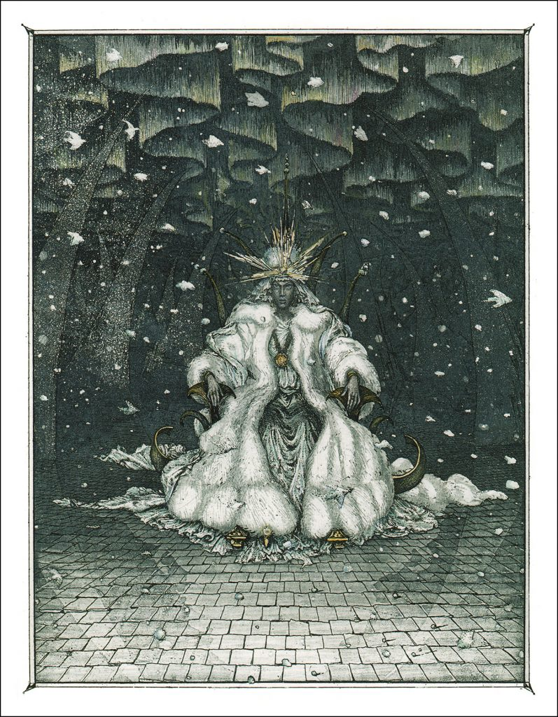 Boris Diodorov, The Snow Queen, 2005, illustration for the Snow Queen book from Oberton publishing house. Book Graphics.