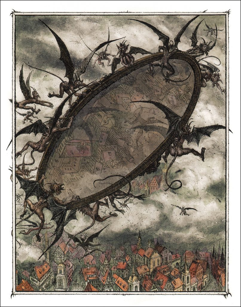 Boris Diodorov, The Goblins and the Mirror, 2005, illustration for the Snow Queen book from Oberton publishing house. Book Graphics.