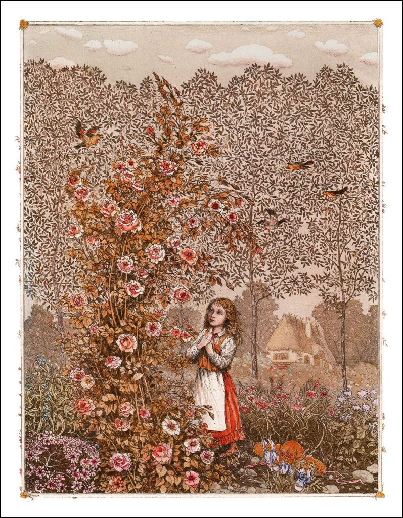Boris Diodorov, The Rose Bush, 2005, illustration for the Snow Queen book from Oberton publishing house. Book Graphics.