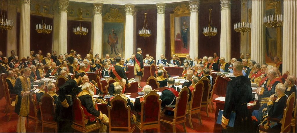 Ilya Repin, Ceremonial Sitting of the State Council on 7 May 1901 Marking the Centenary of its Foundation, 1903, The State Russian Museum, Saint Petersburg, Russia.