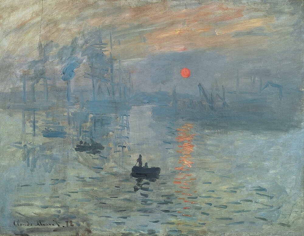 Claude Monet, Impression, Sunrise, in the foreground there is a boat, and on the surface of the lake the reflection of a very bright sunrise, with hazy, atmospheric background