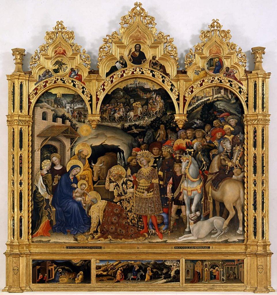 Gentile da Fabriano, Adoration of the Magi, 1423, Galleria degli Uffizi, Florence, Italy.