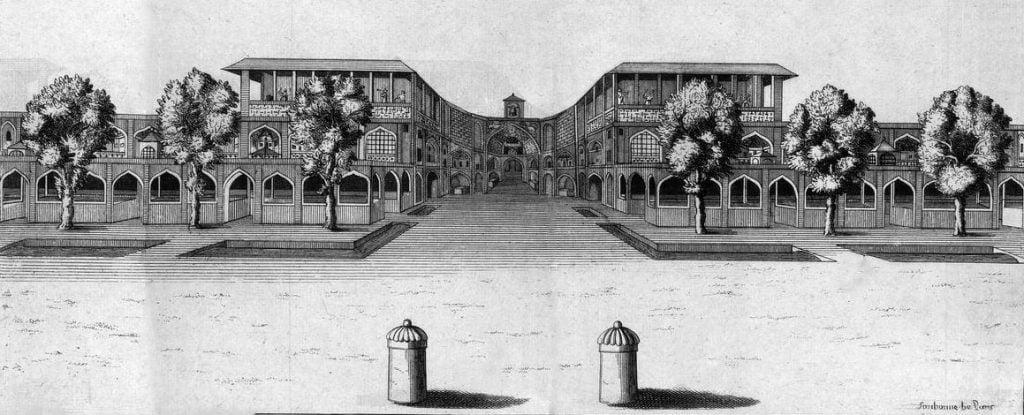 Symbol of Sagittarius at the Qaysariya Bazaar in Isfahan Jean Chardin, Gate of Qaysariya bazaar, 1723.