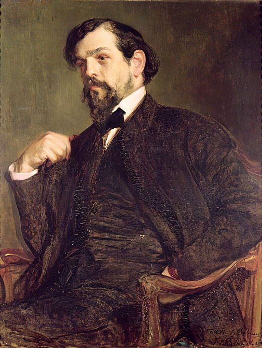 Marcel Baschet, Portrait of Claude Debussy, the composer sits, looking sideways, wearing a deep brown suit