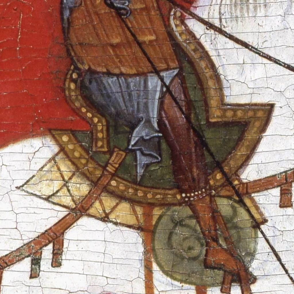 Saint George & the Dragon, 15th century, State Russian Museum, Saint Petersburg, Russia. Enlarged Detail of Saddle.