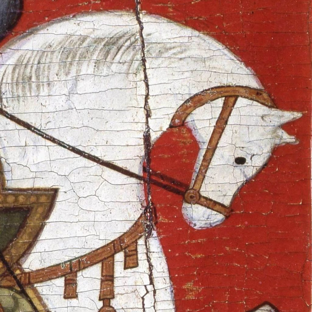 Saint George & the Dragon, 15th century, State Russian Museum, Saint Petersburg, Russia. Enlarged Detail of Horse.