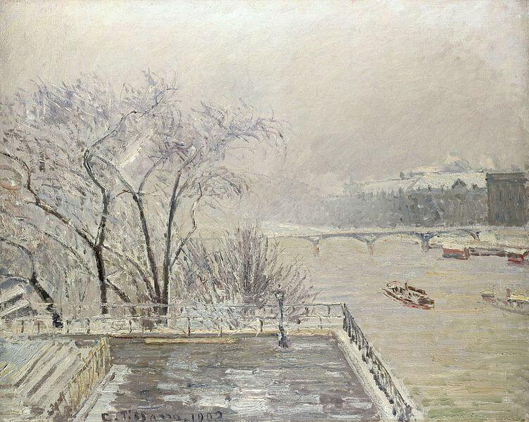 Camille Pissarro, Louvre under snow