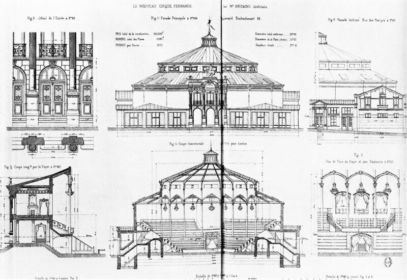 Cirque Fernando's cross section by the architect Gustave Gridaine
