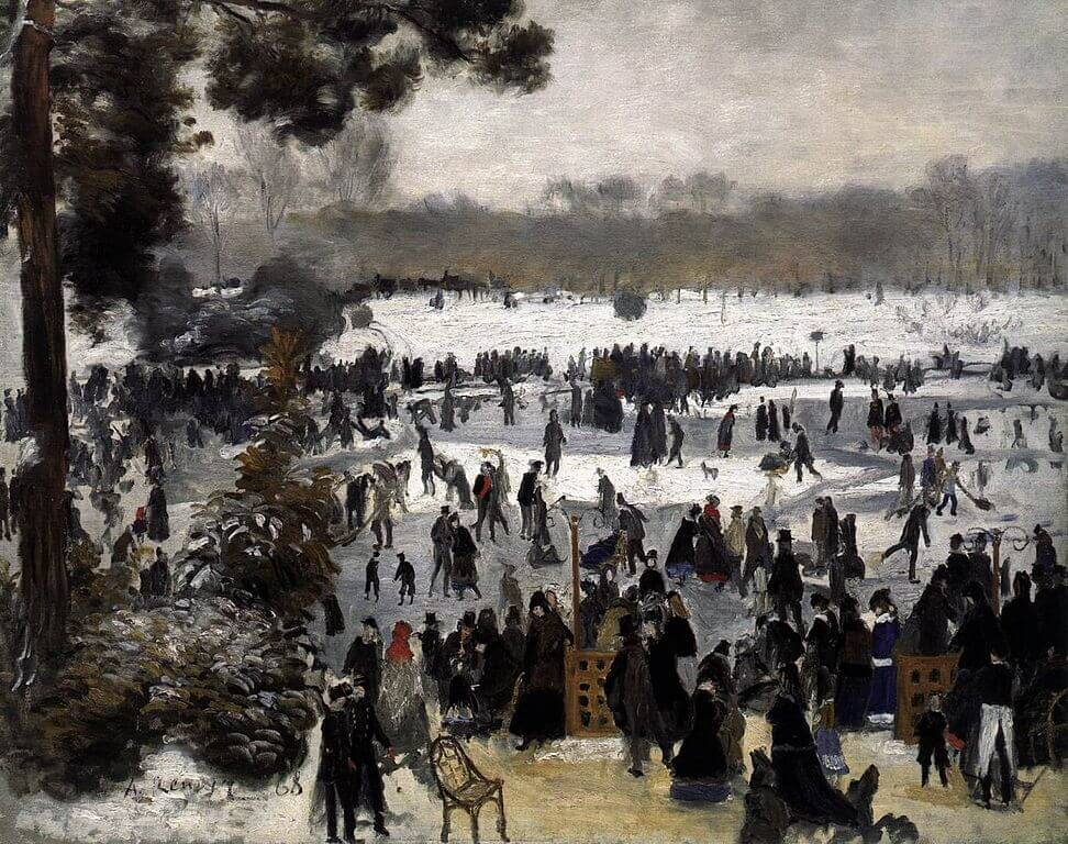Pierre-Auguste Renoir, Bois de Boulogne, Paris, snowy landscape painting