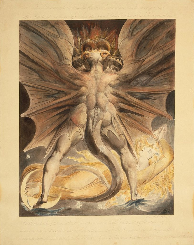 Flying Objects in Art: William Blake, The Great Red Dragon and the Woman Clothed with the Sun, 1803 - 1805, Brooklyn Museum, New York.